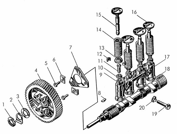 Механизм газораспределения пускового двигателя