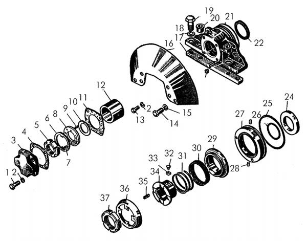 Детали бортовых редукторов (концевой подшипник, крышки, уплотнения) фото запчасти