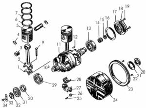 Кривошипно-шатунный механизм пускового двигателя