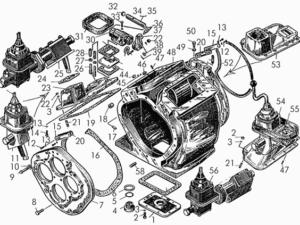 Корпус коробки передач с механизмами переключения, крышками и деталями крепления