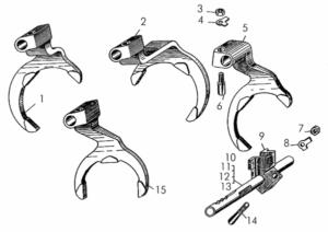 Валики, вилки переключения передач, детали крепления