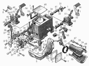 Механизм управления муфтой сцепления и стояночным тормозом