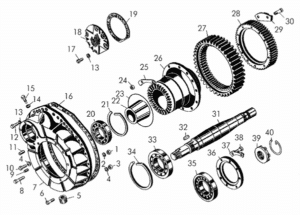 Детали бортовых редукторов (кожух, полуось, подшипники, ступица, шестерни) фото