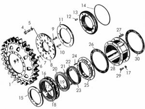 Детали бортовых редукторов (ведущее колесо, лабиринтное уплотнение, проставка)