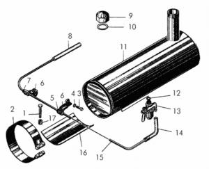 Установка топливного бака пускового двигателя