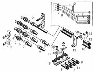 Установка трубопроводов управления задним механизмом навески болотоходных тракторов схема